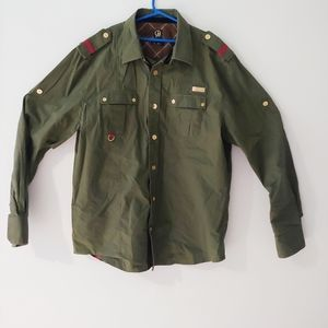 CAVI Men's Size L Military Style Green Long Sleeve